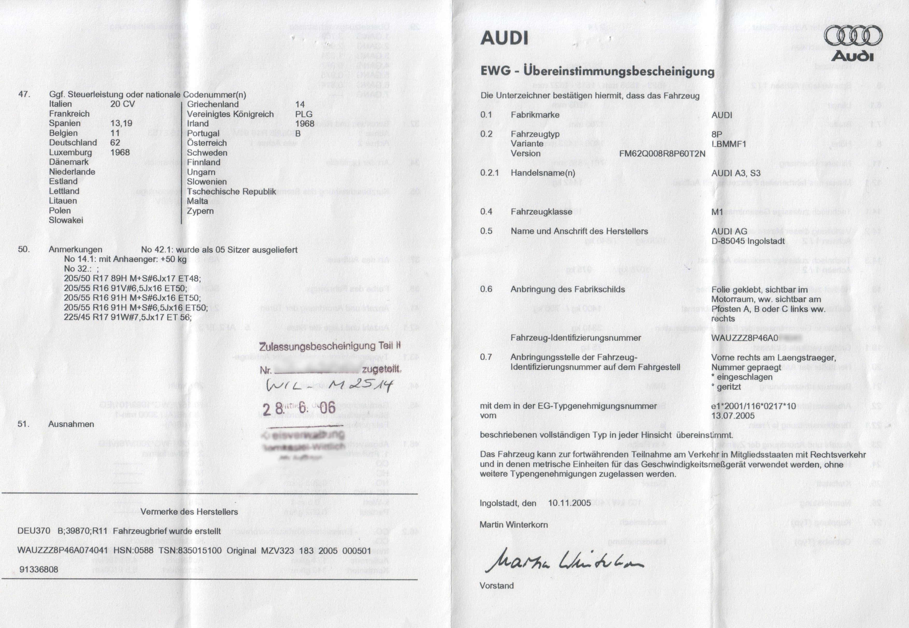EWG Übereinstimmungserklärung Vorderseite